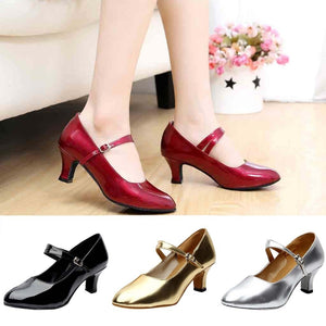 Women Closed Toe  Party Shoes Glossy Shoes Closed Indoor Tango Rumba Ballroom chaussure femme talon bas #L4