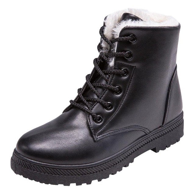 Leather Women Winter Sheos Boots Fashion Non-slip Keep Warm Plush Snow Boots High Quality Retro Short Boots botas mujer 2018