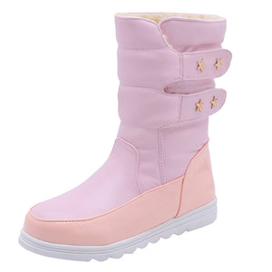 Xiniu Winter Women Snow Boots Shoe Plush Insole Keep Warm Round-Toe Proof Boots Mid-calf Warm Non-slip Boots Shoe For Ladies
