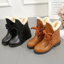 Load image into Gallery viewer, Newest Women Square Heel Shoes Martain Boot Leather Keep Warm Round Toe Lace Up Shoes