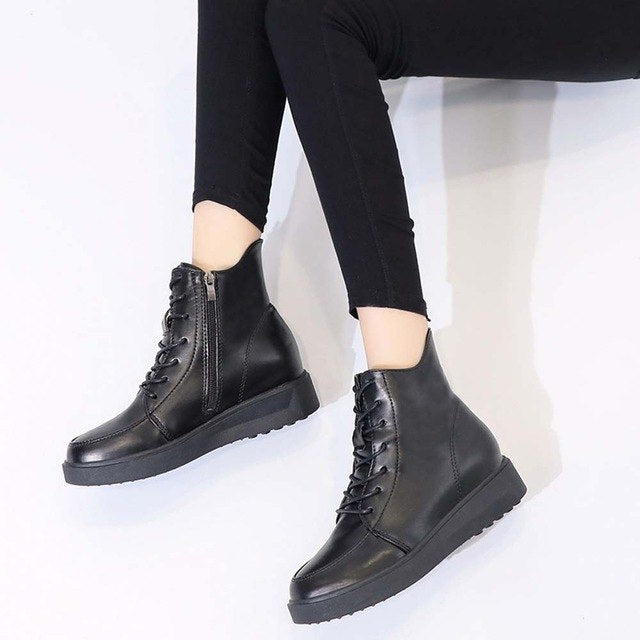 Xiniu High Quality Fashion Women British Thick Soled Lace Up Short Boots Warm Increase High Shoes botas mujer