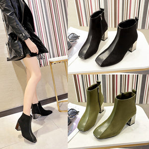 Xiniu High Quality Leisure Women's Fashion Square Head Shoes  Retro Thick Heel Non-Slip Short Boot chaussures femme
