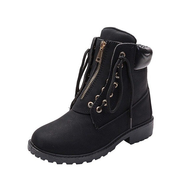 Women Solid Lace Up Zipper Casual Ankle Boots Round Toe Shoes Student Snow Boots Woman winter Lady Boots Women Fashion Hotsell