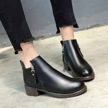 Load image into Gallery viewer, YOUYEDIAN Women Boots 2018 Leather Ankle Boots For Women Zippper Casual Female Shoes Black Winter Boots Women Bottes Femme