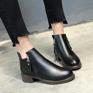 YOUYEDIAN Women Boots 2018 Leather Ankle Boots For Women Zippper Casual Female Shoes Black Winter Boots Women Bottes Femme