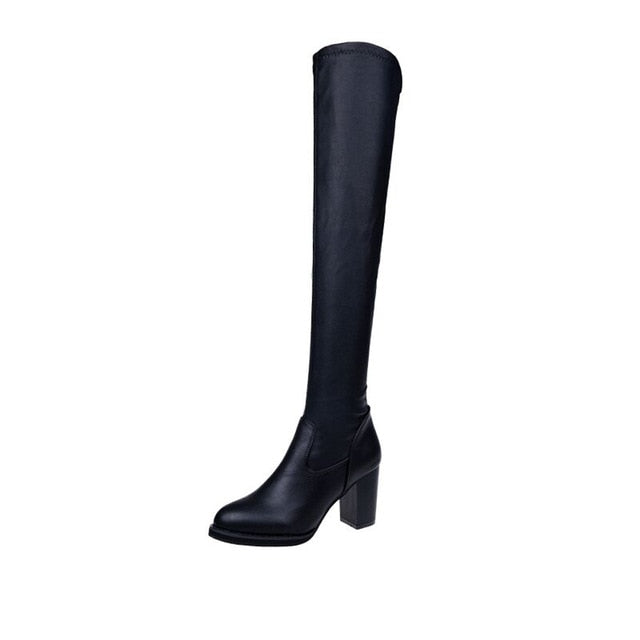 YOUYEDIAN Fashion Leatherwinter boots women 2019 knee high Toe Elastic Stretch Thick Heel boots cuissarde femme haut talon#G30