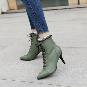 YOUYEDIAN Women Boots Lace Pacthwork High Heel Ankle Boots For Women Lace Up Leather Casual Women Shoes Botines Mujer
