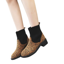 Load image into Gallery viewer, Womens Winter Boots Leisure Leopard Print Shoes 2018 New Winter Keep Warm Shoes Patent Leather Socks Martinas Boots Booties
