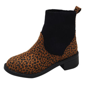 Womens Winter Boots Leisure Leopard Print Shoes 2018 New Winter Keep Warm Shoes Patent Leather Socks Martinas Boots Booties