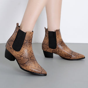 YOUYEDIAN Women Boots 2018 Autumn Snake Chelsea Boots Pointed Toe Female Casual Shoes Ankle Boots For Women Botas Mujer
