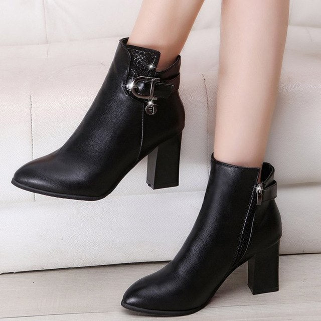 YOUYEDIAN Boots Women 2018 Winter Ankle Boots Pointed Toe Zipper Casual Female Shoes Women Leather Boots Botas Mujer