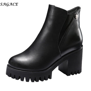SAGACE New Women Martain Boot Fashion Solid Color Leather High Heel Shoes Female autumn Winter Round Toe Zipper Ankle Boots  #35