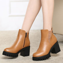 Load image into Gallery viewer, SAGACE New Women Martain Boot Fashion Solid Color Leather High Heel Shoes Female autumn Winter Round Toe Zipper Ankle Boots  #35