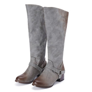 YOUYEDIAN Women Boots Leather Knee High Boots Zipper Autumn Female Shoes Casual Bukle Solid Boots Botas Mujer Invierno