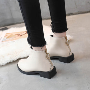 YOUYEDIAN women shoes winter leatherZipper Shoes Flat  Non-Slip Platform Solid Color Round Toe  Martin Boots laarsjes leder#G30