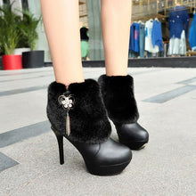 Load image into Gallery viewer, YOUYEDIAN Women Boots 2018 Super High Heel Boots Thin Heel Plush Crystal Women Winter Shoes Casual Black Boots Botas Mujer
