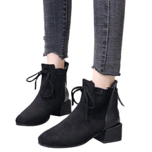 Load image into Gallery viewer, Women Shoes Winter Casual Boots 2018 New Solid Color Square Heel Lace-Up Suede Boots Snow Boots Round Toe Shoes Casual Booties