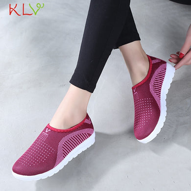 Couple Vulcanized Shoes Autumn Mesh Flat Loafers Plus Size Cotton Women Flats Casual Walking Stripe Sneakers For Female 18Dec26