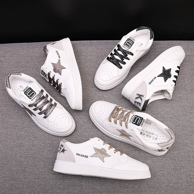 YOUYEDIAN Women Ladies Fashion Lace Up Round Toe Flat Casual Loafer Sneaker White Shoes zapatos de mujer con plataforma taco#G30
