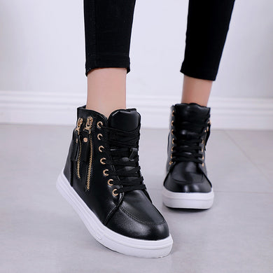 YOUYEDIAN Women Sneakers 2019 Spring Fashion Wedge Zipper Leather Vulcanized Shoes Black Platform Sneakers Zapatillas Mujer
