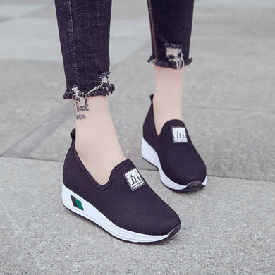MUQGEW Fashion Women Increase shoes Letter Wedges Loafers Outdoor Round Toe Casual Shoes woman sneakers wedge canvas shoes