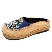 Load image into Gallery viewer, chaussons femme talon Fashion Women bayan ayakkabi topukl Leisure Flax Flat Round Head Platform Cloth Shoes Leisure Slippers #78