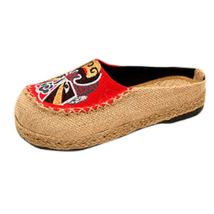 chaussons femme talon Fashion Women bayan ayakkabi topukl Leisure Flax Flat Round Head Platform Cloth Shoes Leisure Slippers #78