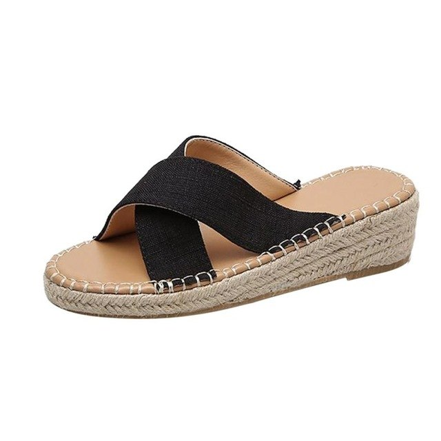 Women Sandals Shoes Flat Espadrille Round toe shoes Outdoor Platform Slippers Casual Summer beach Shoes sapato feminino # FF