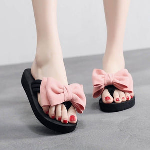 YOUYEDIAN Summer Women Beach Flip Flops Red Bow Slippers Women Casual Shoes Solid Flat Women Slippers Female Flip Flops