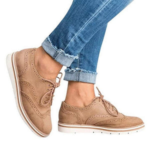 LASPERAL Brogue Shoes Leather Woman Platform Oxfords British Creepers Cut-Outs Flat Casual Women Shoes 5 Colors Espadrilles