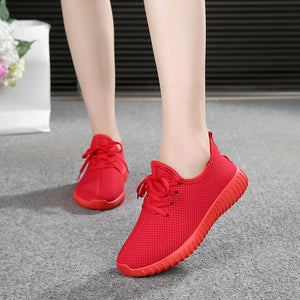 Women Vulcanized Shoes Summer Flats Lace Up Breathable Flat Heel Anti-Skidding Walking Shoes Boat Shoes