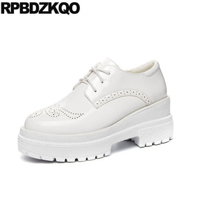 platform elevator slip resistant patent leather muffin wedge japanese school creepers white brogue vintage women oxfords shoes