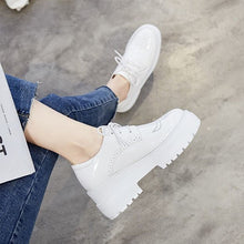 Load image into Gallery viewer, platform elevator slip resistant patent leather muffin wedge japanese school creepers white brogue vintage women oxfords shoes