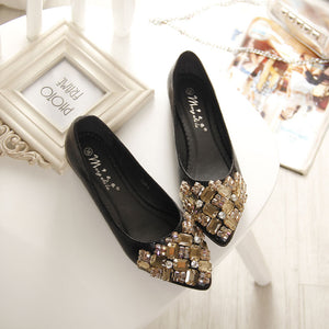 2016 Flats Shoes Women Ballet Princess Shoes For Casual Crystal Boat Shoes Rhinestone Women Flats PLUS Size 34-43