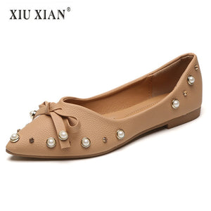 b9a16fc989b45d 2018 New Arrived Lovely Pearls Pointed Toe Women Flats PU Leather Crystal  Elegant OL Flats Shallow Slip on Fashion Student Shoes