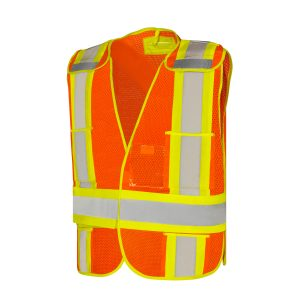 Hi-Vis Vest 5 Point Tear-Away Orange - 5 Pockets W/Clear Vinyl ID Pocket