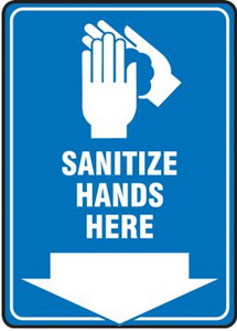 Aluminum Sanitize Hands Here Safety Sign