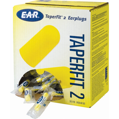 Earplugs 3M™ E-A-R™ TaperFit 2 Yellow 312-1219 Pair/Poly Bags 200/Box (NRR25)