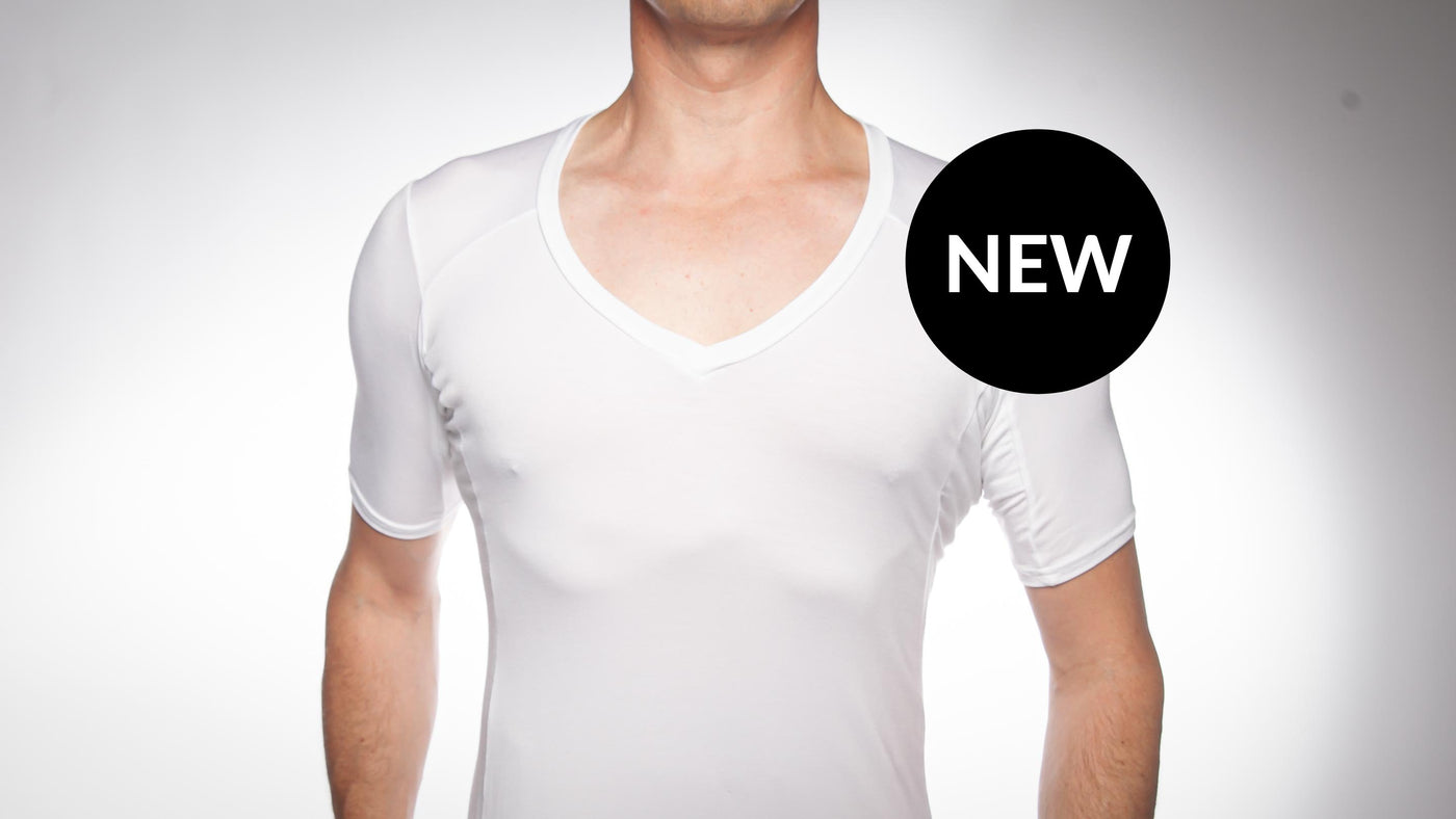 Picture of a man wearing an Oxford Sweat Protect undershirt in white