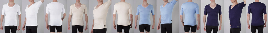 Picture of Oxford Sweat Protect undershirt in four colours: white, tan, blue and navy