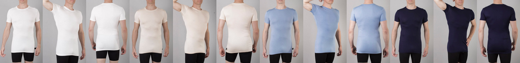 Picture of Chester Classic Crew neck undershirt in four colours: white, tan, blue and navy