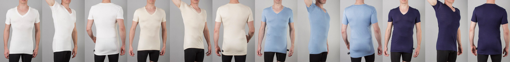 Picture of Chester V neck undershirt in four colours: white, tan, blue and navy