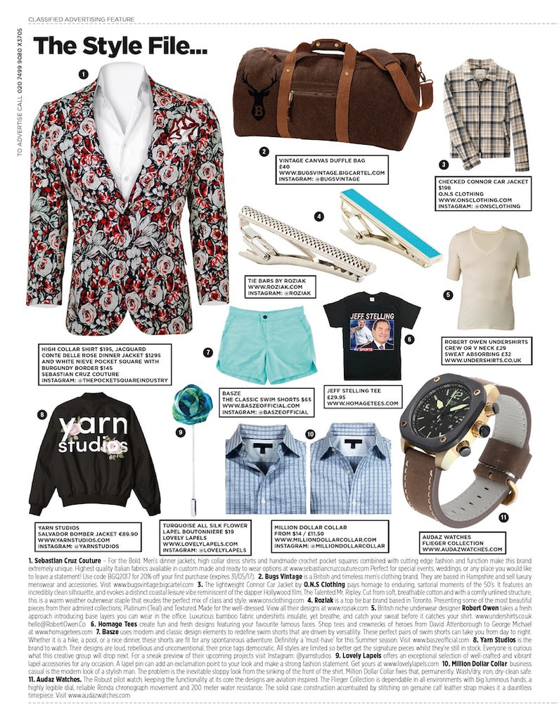 British GQ Style File page featuring a Robert Owen bamboo undershirt
