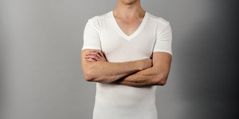 Picture of men's undershirt in bamboo fabric with deep v neck