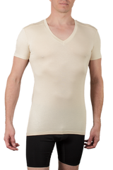 Chester V-Neck mens slim fit undershirt in tan.