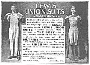 Picture of men's and women's union suit magazine advert