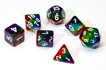 SIRIUS DICE TRANSPARENT RAINBOW 7-DIE SET | Eastridge Sports Cards & Games