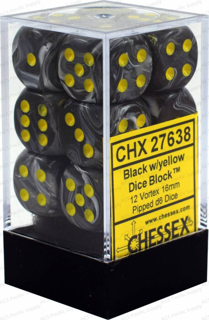 CHESSEX Vortex 12D6 Black/Yellow 16MM (CHX27638) | Eastridge Sports Cards & Games