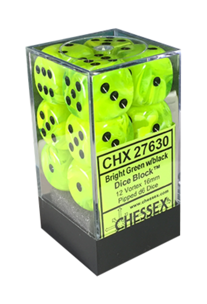 CHESSEX Vortex 12D6 Bright Green/Black 16MM (CHX27630) | Eastridge Sports Cards & Games
