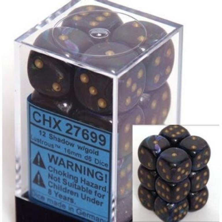 CHESSEX Lustrous 12D6 Shadow/Gold 16MM (CHX27699) | Eastridge Sports Cards & Games
